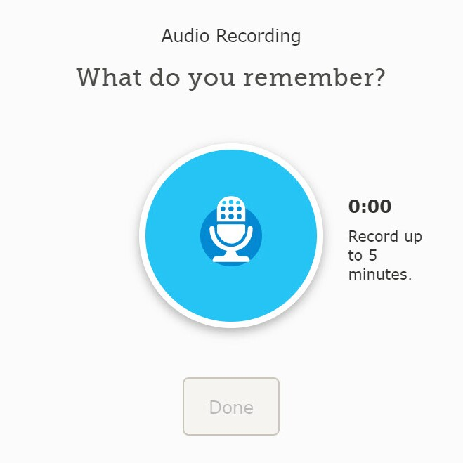Recording audio button on FamilySearch.org.