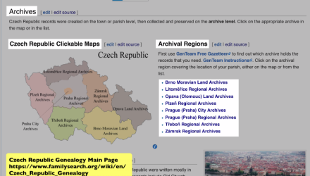 Czech Republic Research With the Wiki Part 3 of 5: A Czech Republic Archival Region Page