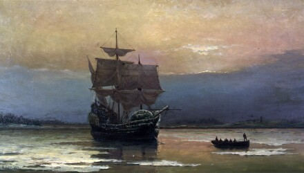 Mayflower_in_Plymouth_Harbor,_by_William_Halsall.jpg