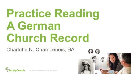 German Paleography Seminar: Practice Reading A German Church Record