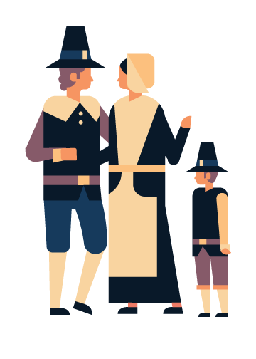 mayflower passengers--a man, woman, and their son