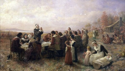 mayflower passengers at the first thanksgiving