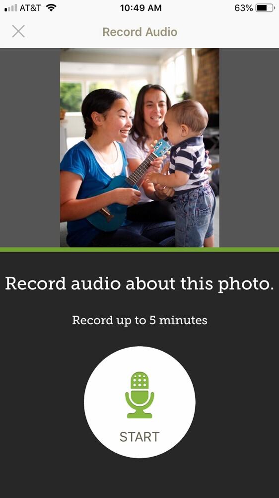 Recording audio button on FamilySearch Memories app.