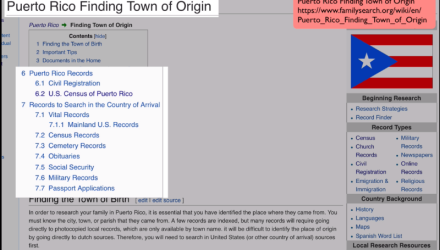Puerto Rico Research With the Wiki Part 2 of 8: Puerto Rico Finding Town of Origin