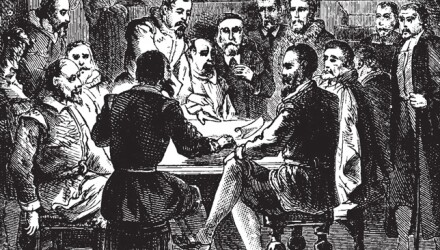 william brewster and other mayflower passengers sign the mayflower compact