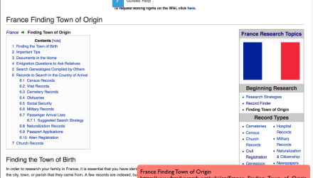 France Research With the Wiki Part 3 of 8: France Finding Town of Origin