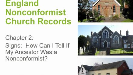 England Nonconformist Church Records: Signs