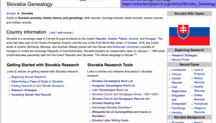 Slovakia Research With the Wiki Part 1 of 6:   The Slovakia Genealogy Main Page