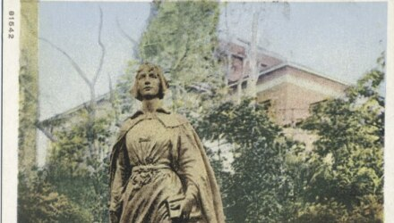 Statue of Elizabeth Tilley, a Mayflower passenger who was married to John Howland